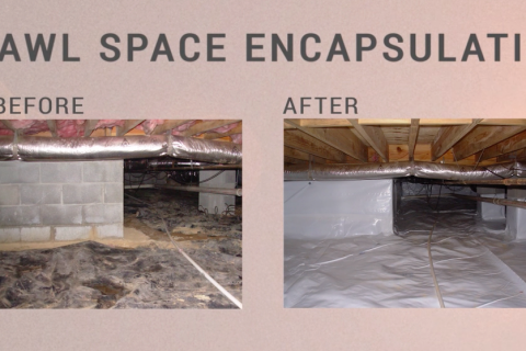 Before and after of crawl space encapsulation